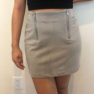 Light Gray Suede Zip Skirt